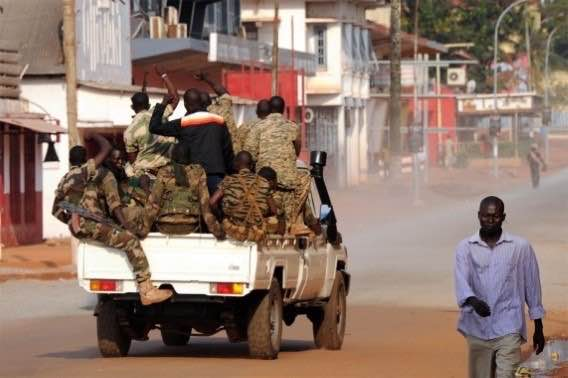 soldiers in truck in central african republic